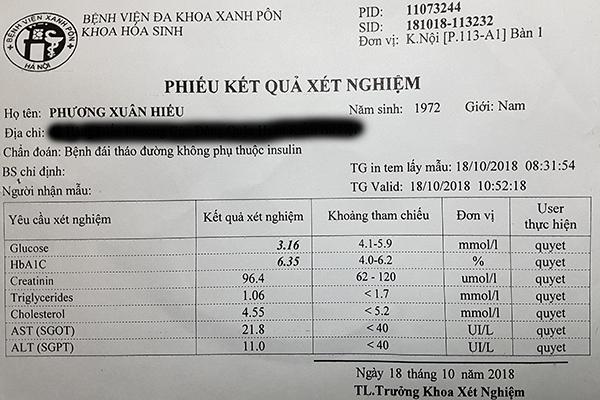 Kết quả HbA1c sau khi dùng bơm insulin tự động